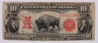 1901 'Bison' $10 Ten-Dollar Red Seal U.S. Legal Tender Large-Size Bank Note at PristineAuction.com