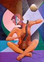 "Jorge Vargas Signed ""The Violinist"" 20x28 Original Mixed Media Painting on Canvas (PA LOA) at PristineAuction.com"