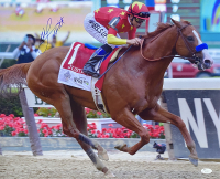 "Mike Smith Signed ""Justify at Belmont Stakes"" 16x20 Photo (JSA COA) at PristineAuction.com"