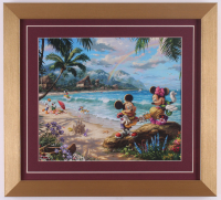 "Thomas Kinkade Walt Disney's ""Mickey & Minnie Mouse in Hawaii"" 14.5x16 Custom Framed Print Display at PristineAuction.com"