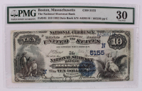 1882 'Date Back' $10 Ten-Dollar U.S. National Currency Large-Size Bank Note - The National Shawmut Bank of Boston, Massachusetts (PMG 30) at PristineAuction.com