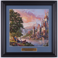 "Thomas Kinkade Walt Disney's ""Beauty and the Beast"" 16.5x16.5 Custom Framed Print Display at PristineAuction.com"
