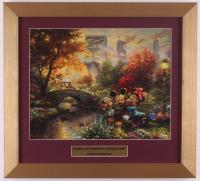 "Thomas Kinkade Walt Disney's ""Mickey & Minnie Mouse in Central Park"" 14.5x16 Custom Framed Print Display at PristineAuction.com"