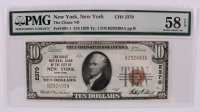 1929 $10 Ten-Dollar U.S. National Currency Bank Note with Brown Seal - The Chase National Bank of the City of New York, New York (PMG 58) (EPQ) at PristineAuction.com