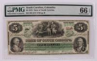 1872 $5 Five-Dollar - South Carolina - Columbia - Bank Note Bill (PMG 66) (EPQ) at PristineAuction.com