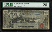 "1896 $1 One-Dollar ""Educational Series"" Large-Size Silver Certificate (PMG 25) at PristineAuction.com"