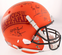 "Catherine Bach, Tom Wopat & John Schneider Signed ""Dukes of Hazzard"" Custom Matte Orange Full-Size Helmet with Multiple Inscriptions (JSA COA) at PristineAuction.com"