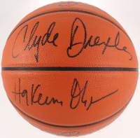 Hakeem Olajuwon & Clyde Drexler Signed Official NBA Game Ball Series Basketball (JSA COA) at PristineAuction.com