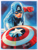 "Stan Lee Signed ""Captain America"" 18x24 Painting on Canvas (JSA COA & Cargill COA) at PristineAuction.com"
