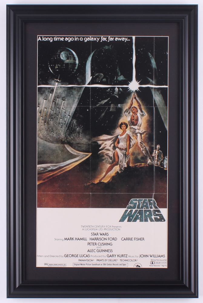 """""""Star Wars: Episode IV -  A New Hope"""" 15x23 Custom Framed Movie Poster Display at PristineAuction.com"""