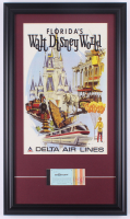 Vintage Disneyworld 15.5x26.5 Custom Framed Print Display with Vintage Ticket Booklet at PristineAuction.com