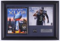 Russell Wilson Signed Seahawks 15.5x23 Custom Framed Photo Display with Super Bowl XLVIII Program & Pin (PSA COA & Wilson Hologram) at PristineAuction.com