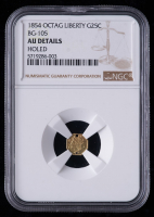 1854 Octogonal Liberty California Fractional 25C Gold Coin (NGC AU Details) at PristineAuction.com