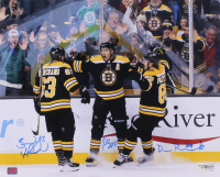 Brad Marchand, Patrice Bergeron & David Pastrnak Signed Bruins 16x20 Photo (YSMS COA) at PristineAuction.com