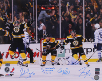 "Patrice Bergeron, Brad Marchand & Tyler Seguin Signed LE Bruins 16x20 Photo Inscribed ""The Comeback GT + OT GWG 5-13-13"" (YSMS COA) at PristineAuction.com"