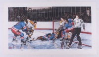 """In the Slot"" LE 19x32.5 Lithograph Signed by (4) with Phil Esposito, John Bucyk, Ed Giacomin & Vic Hadfield (YSMS COA) at PristineAuction.com"