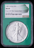 1987  American Silver Eagle $1 One Dollar Coin - From U.S. Mint Sealed Box (NGC MS69) (Green Core Holder) at PristineAuction.com