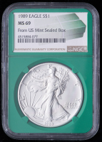 1989 American Silver Eagle $1 One Dollar Coin - From U.S. Mint Sealed Box (NGC MS69) (Green Core Holder) at PristineAuction.com