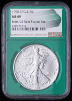 1990 American Silver Eagle $1 One Dollar Coin - From U.S. Mint Sealed Box (NGC MS69) (Green Core Holder) at PristineAuction.com