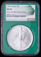 1991 American Silver Eagle $1 One Dollar Coin - From U.S. Mint Sealed Box (NGC MS69) (Green Core Holder) at PristineAuction.com