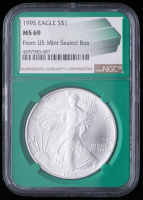 1995 American Silver Eagle $1 One Dollar Coin - From U.S. Mint Sealed Box (NGC MS69) (Green Core Holder) at PristineAuction.com