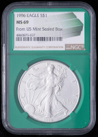 1996 American Silver Eagle $1 One Dollar Coin - From U.S. Mint Sealed Box (NGC MS69) (Green Core Holder) at PristineAuction.com
