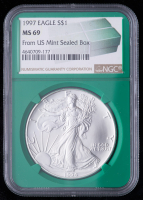 1997 American Silver Eagle $1 One Dollar Coin - From U.S. Mint Sealed Box (NGC MS69) (Green Core Holder) at PristineAuction.com