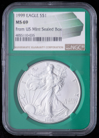 1999 American Silver Eagle $1 One Dollar Coin - From U.S. Mint Sealed Box (NGC MS69) (Green Core Holder) at PristineAuction.com