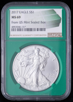 2017 American Silver Eagle $1 One Dollar Coin - From U.S. Mint Sealed Box (NGC MS69) (Green Core Holder) at PristineAuction.com