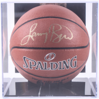 Larry Bird Signed NBA Basketball With High Quality Photo Display Case (PSA COA & Bird Hologram) at PristineAuction.com