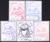 "Lot of (5) Kevin Eastman Signed ""Teenage Mutant Ninja Turtles"" 8x10 Canvases With Hand-Drawn Sketches (JSA COA) at PristineAuction.com"