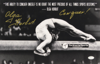 "Olga Korbut Signed 11x17 Photo Inscribed ""Conquer!"" (JSA COA) at PristineAuction.com"
