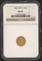1854 $1 Gold Coin - Type 2 (NGC AU 55) at PristineAuction.com