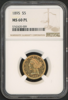 1895 $5 Five Dollars Liberty Head Gold Coin (NGC MS 60 PL) at PristineAuction.com