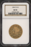 1854-S $10 Ten Dollars Liberty Head Eagle Gold Coin (NGC AU 55) at PristineAuction.com