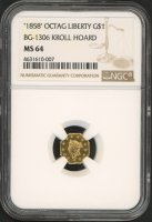 1858 $1 Octagon Liberty Gold Coin (NGC MS 64) at PristineAuction.com