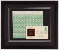 Bobby Jones 16x19 Custom Framed Uncut Stamp Sheet Display with 1981 FDC Envelope at PristineAuction.com
