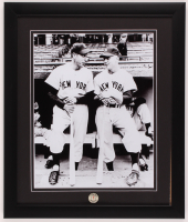 Joe DiMaggio & Mickey Mantle Yankees 16x19 Custom Framed Photo Display with Vintage 1950's Original Yankees Pin at PristineAuction.com