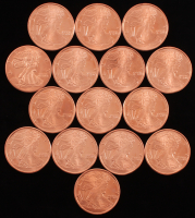 Lot of (15) Oz .999 Fine Copper Walking Liberty Rounds at PristineAuction.com