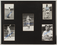 Baseball Hall of Fame 14x18 Custom Framed Photo Display Signed By (5) With Hank Aaron, Ted Williams, Joe DiMaggio, Stan Musial & Willie Mays (Beckett LOA) at PristineAuction.com