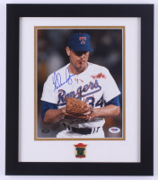Nolan Ryan Signed Rangers 13x15 Custom Framed Photo Display (PSA COA & Ryan Hologram) at PristineAuction.com