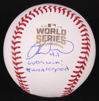 """Miguel Montero Signed 2016 World Series Baseball Inscribed """"Cubs Win!"""" & """"#wearegood"""" (Beckett COA) at PristineAuction.com"""