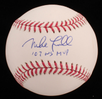 "Mike Lowell Signed OML Baseball Inscribed ""'07 WS MVP"" (JSA COA) at PristineAuction.com"