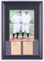 Babe Ruth & Lou Gehrig Yankees 11x15.5 Custom Framed Photo Display With (2) Bradbury Mint 23kt Gold Cards at PristineAuction.com