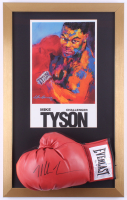 Mike Tyson Signed 16x25.5 Custom Framed Boxing Glove Display with LeRoy Neiman Fight Print (Beckett COA) at PristineAuction.com