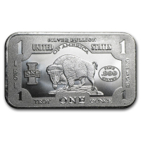 "1 Troy Oz .999 Fine Silver ""Bison"" Bullion Bar at PristineAuction.com"