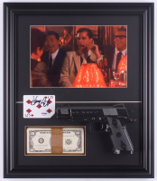 "Henry Hill Signed ""Goodfellas"" 16.5x19 Custom Framed Playing Card Display with Stack of Prop Money & Replica Gun (PSA COA) at PristineAuction.com"