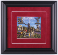 Walt Disney World Commemorative 12x12.5 Custom Framed Passholder Pin Display with (6) Bronze Pins at PristineAuction.com