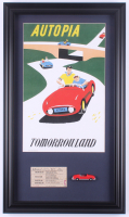 "Disneyland Tomorrowland's ""Autopia"" 15.5x26.5 Custom Framed Print Display with Vintage 1960's Autopia Ticket & Vintage Souvenir Resin Autopia Car at PristineAuction.com"