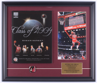 Michael Jordan Bulls 17x19.75 Custom Framed Photo Display with 2009 Basketball Hall of Fame Induction Program & Pin at PristineAuction.com